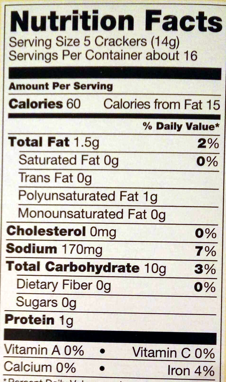 Original Style Saltines Crackers - Nutrition facts - en