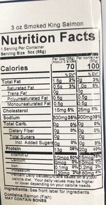 Smoked wild king salmon - Nutrition facts - en