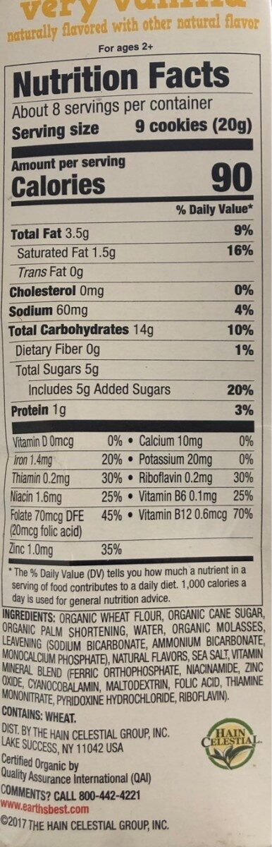 Organic organic letter of the day cookies - Nutrition facts - en