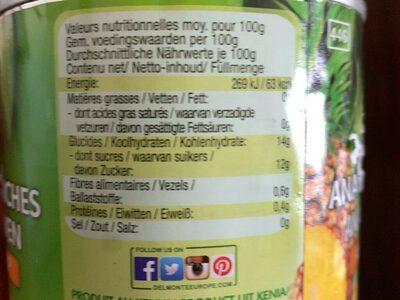 Del monte, pineapple slices in its own juice - Nährwertangaben - en