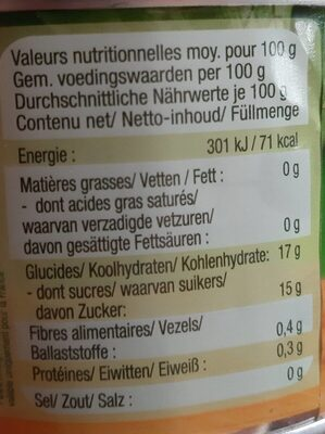 Ananas en tranches - Nutrition facts