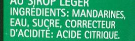 Mandarines au sirop léger - Ingredients