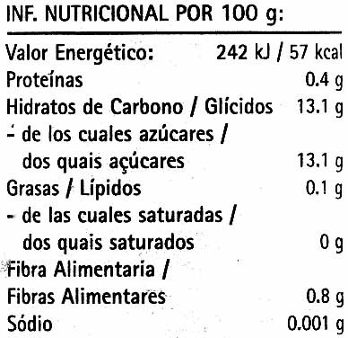 Del monte, pineapple slices in juice - nutrition