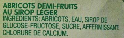 Apricot Halves in Light Syrup - Ingredients - fr