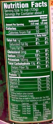 Whole Kernel Corn - Nutrition facts