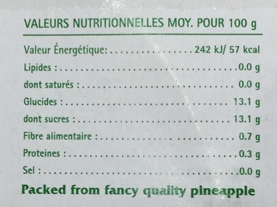 Tranches d'Ananas au jus d'Ananas - Informations nutritionnelles
