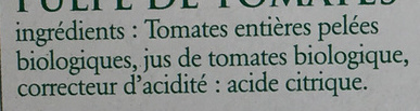 Pulpe de tomates bio - Ingrediënten