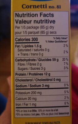 Cornetti no.18 - Informations nutritionnelles