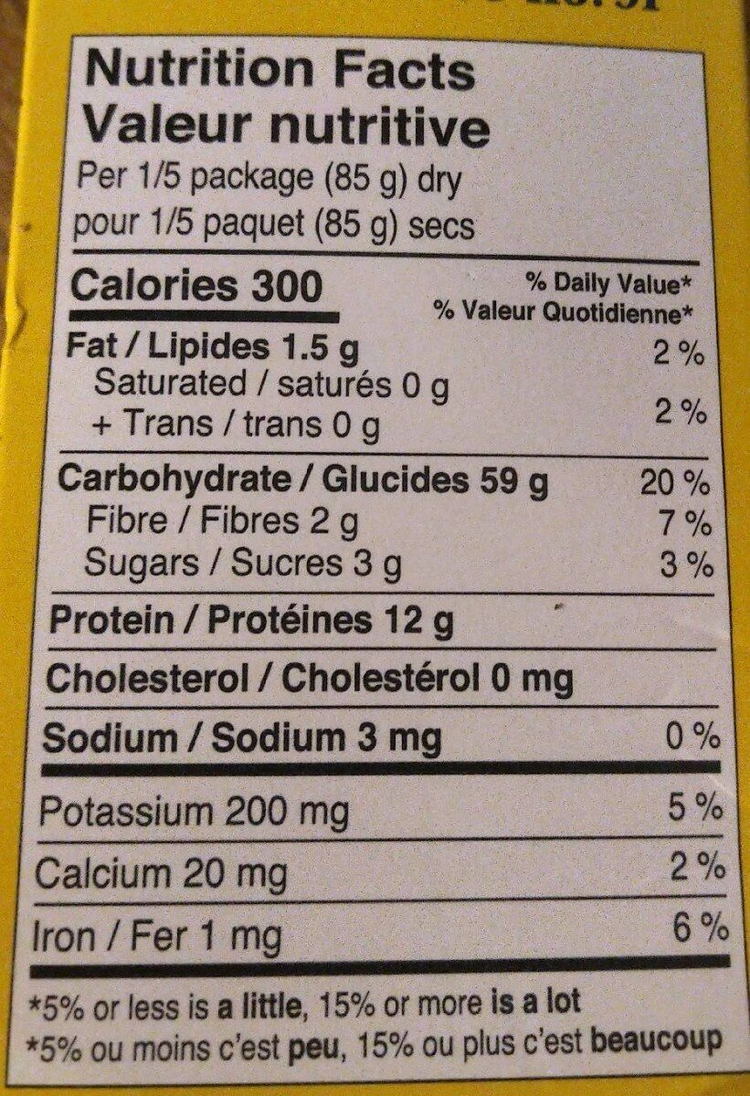 Orecchiette n•91 - Informations nutritionnelles - fr