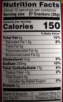 Baked snack crackers - Nutrition facts - en