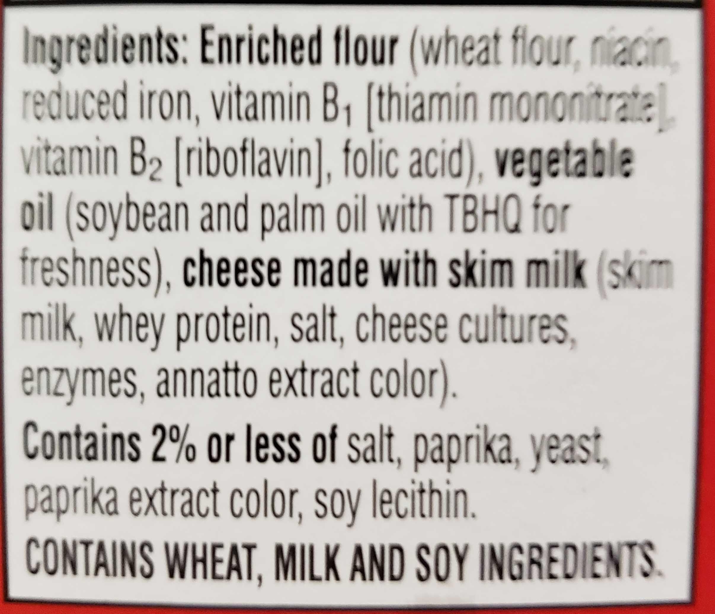 Cheez-It - Ingredients