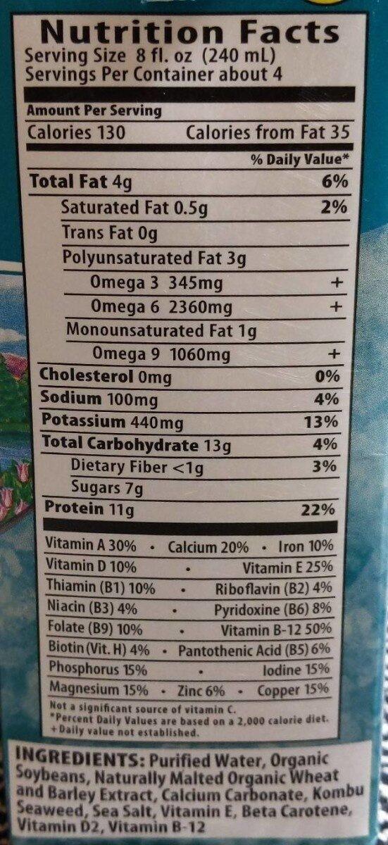 Soy extra organic soymilk original - Nutrition facts