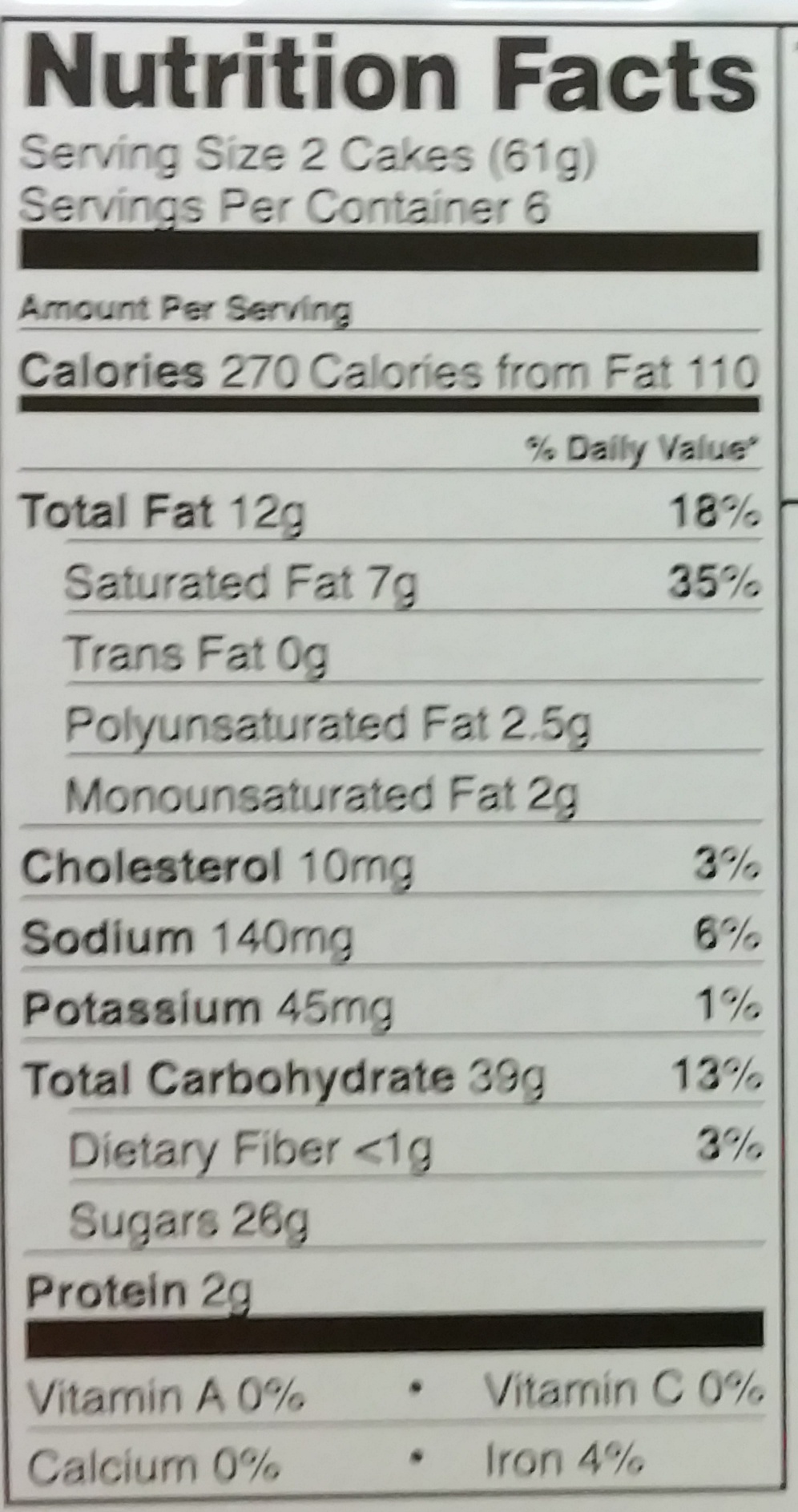 Swiss Rolls - Nutrition facts