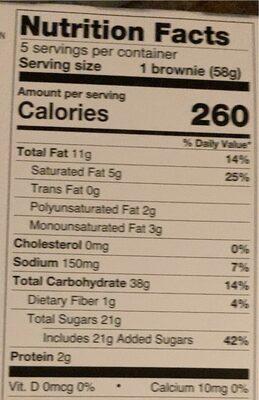 Snowflake Brownies - Informazioni nutrizionali - en