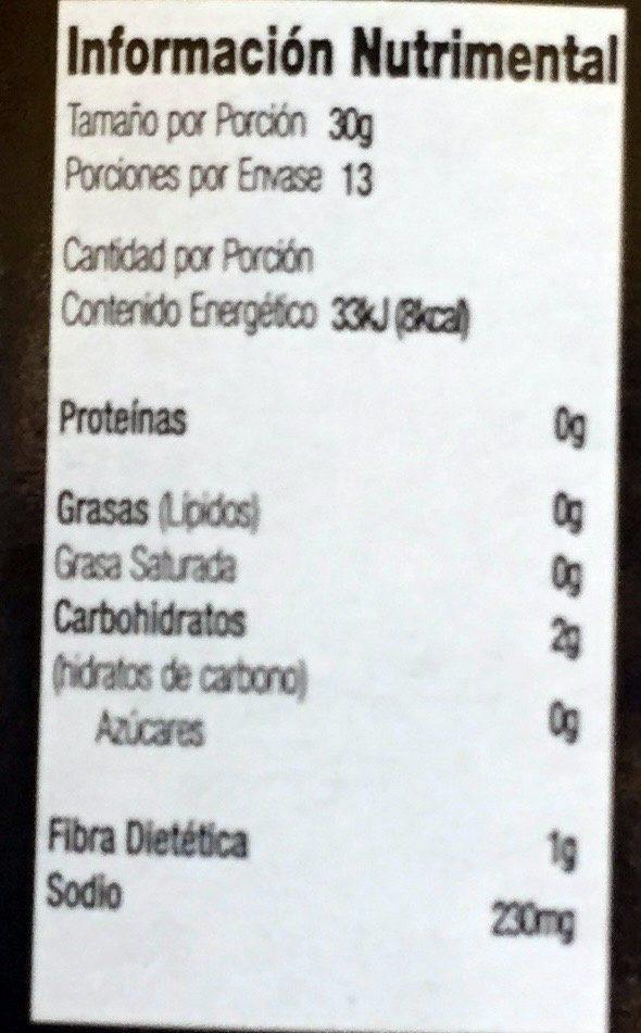 Pepinillos Rebanados Curtidos - Información nutricional - es