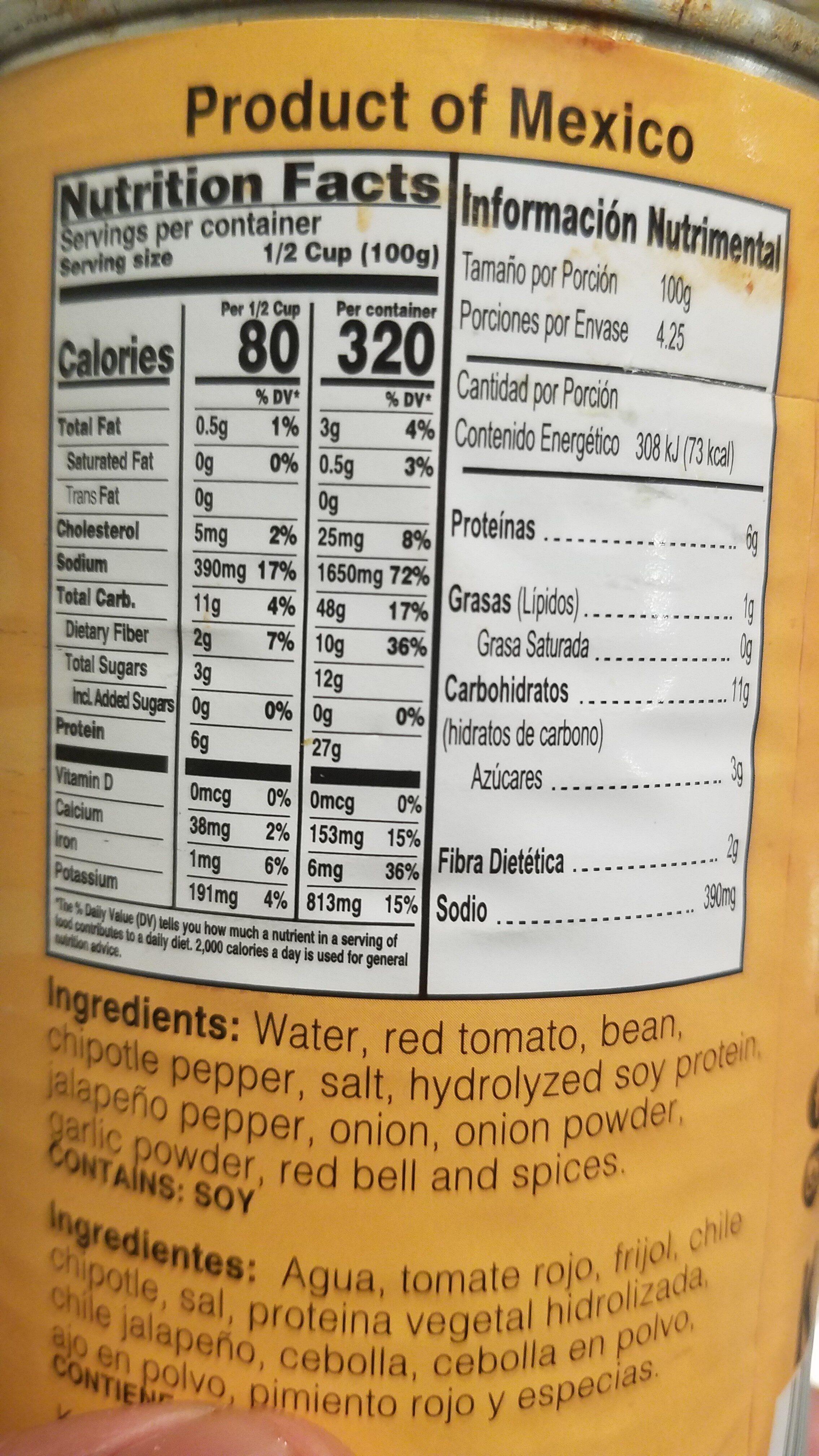 VEGETARIAN CHILI - Nutrition facts - en