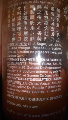 Sauce Piment Forte 482 G Huy Fong - Ingredients - en