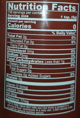 Tuong ot sriracha, sriracha chili sauce - Nutrition facts - en
