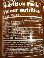 Sriracha Hot Chili Sauce - Informations nutritionnelles