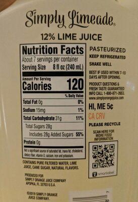 Simply lemonade lime juice - Informations nutritionnelles - fr