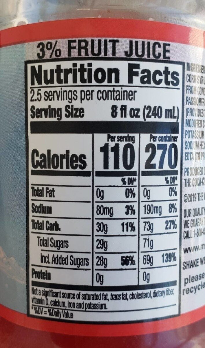 Minute Maid Fruit Punch - Nutrition facts