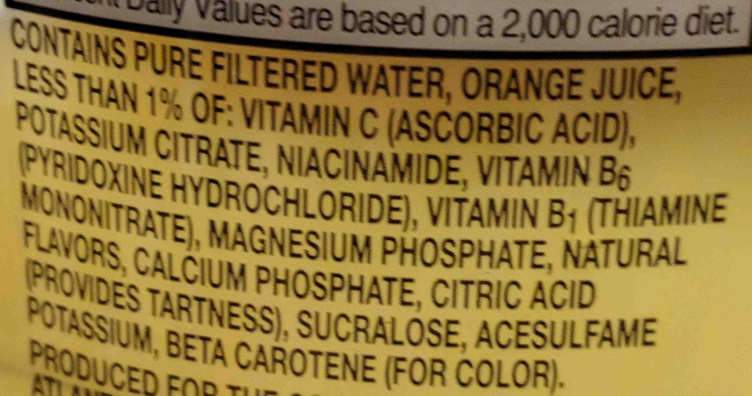 Orange juice beverage, no pulp - Ingrédients - en
