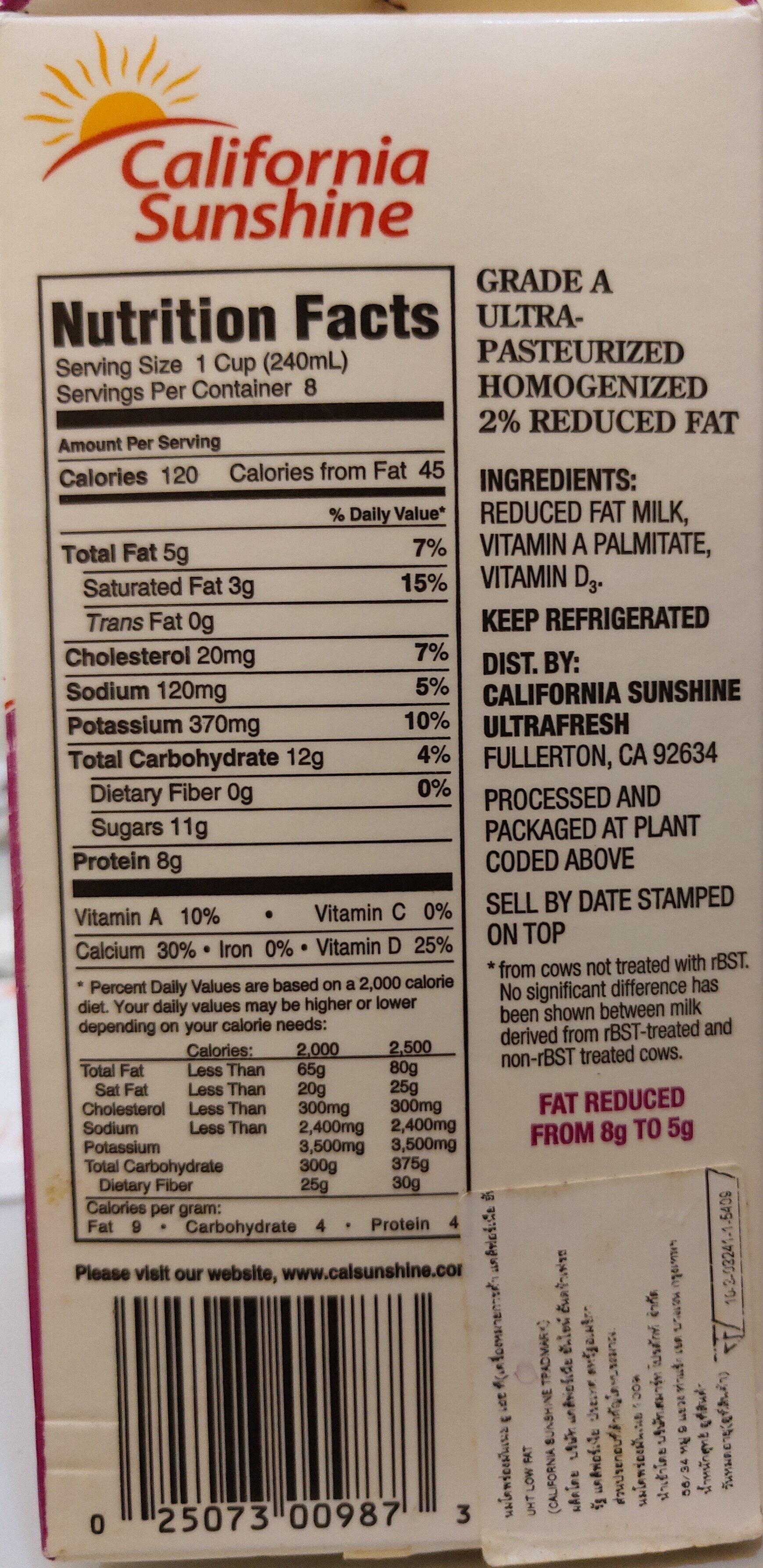 Reduced fat milk - Ingredients