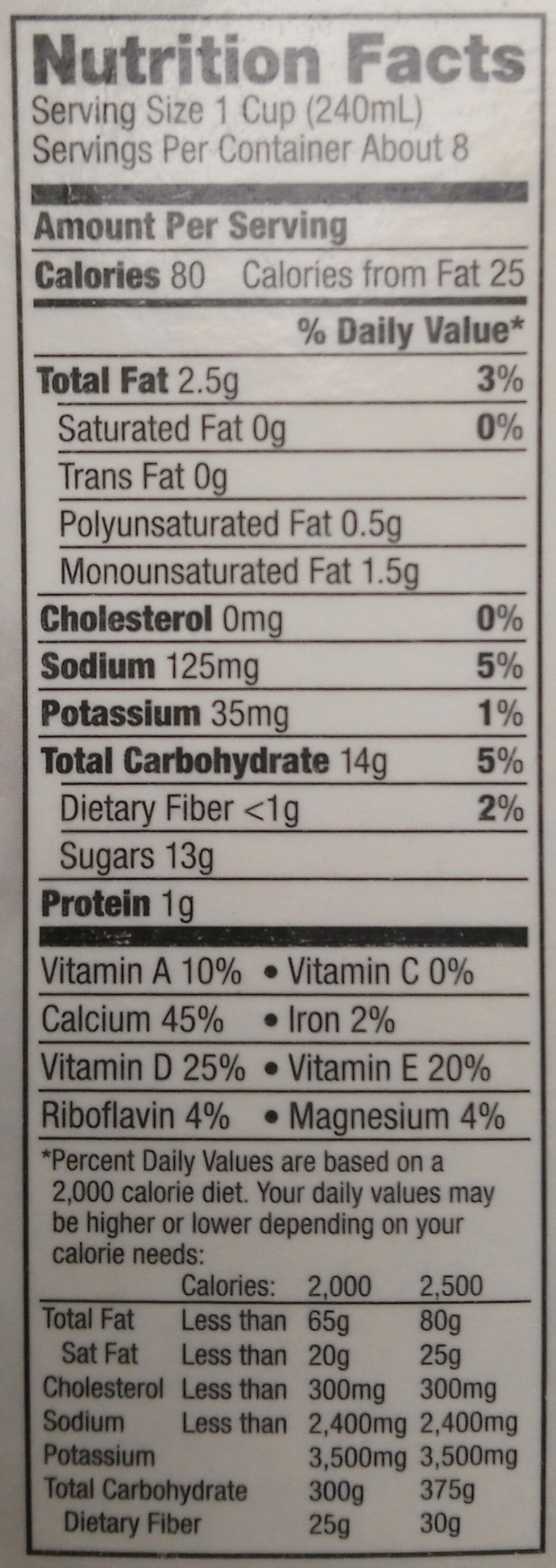 Vanilla almondmilk - Nutrition facts - en