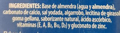 Almond milk no sugar - Ingredients