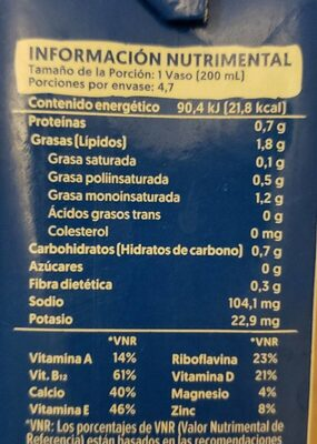 Almond milk no sugar - Informations nutritionnelles - es