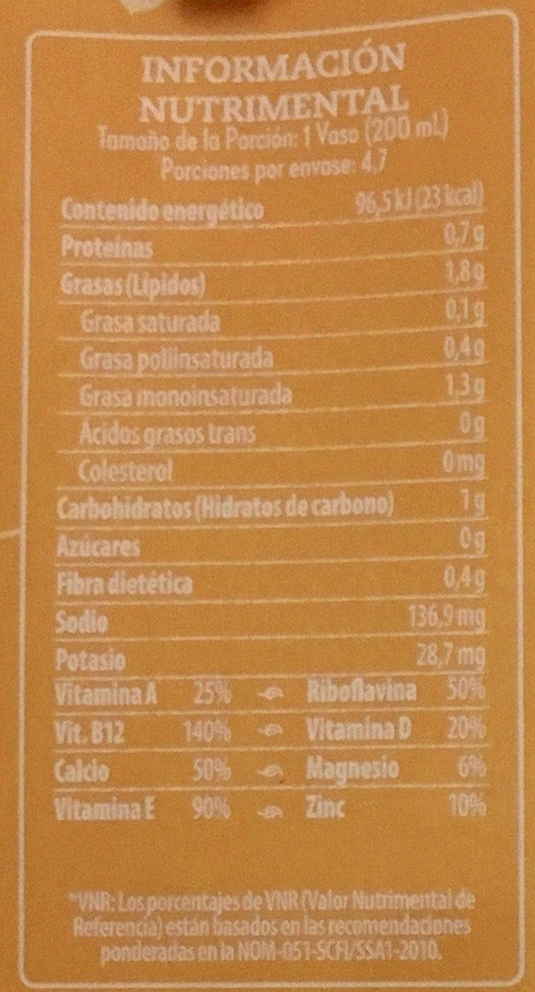Alimento líquido con almendra sabor vainilla - Informations nutritionnelles
