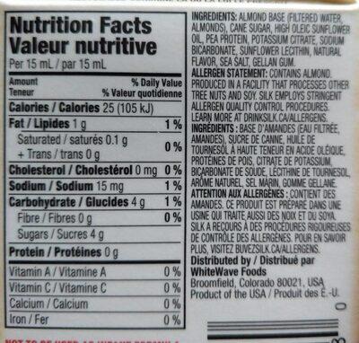 Silk Almond for Coffew - Nutrition facts - en