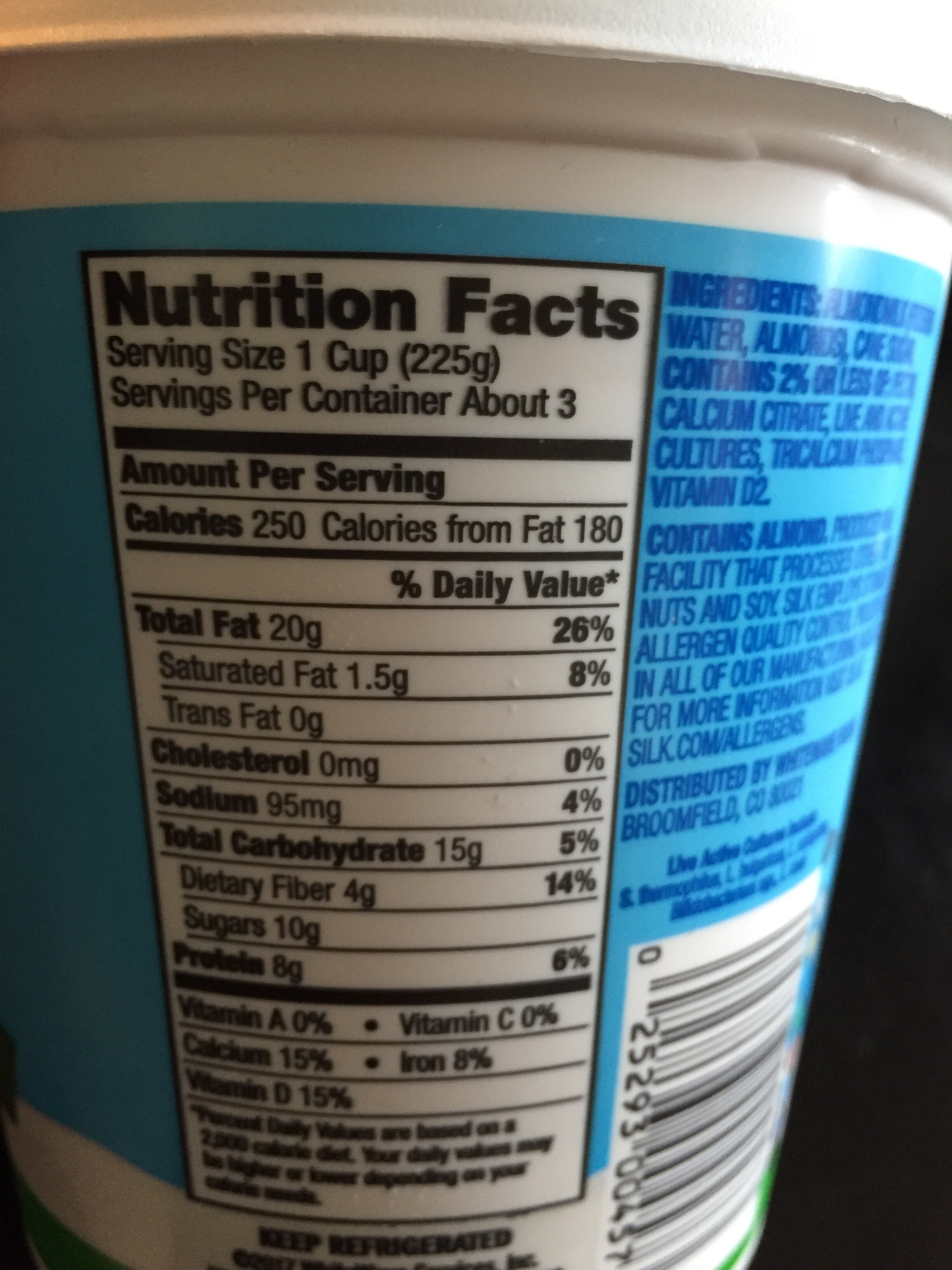 Almondmilk yogurt alternative, plain - Nutrition facts - en