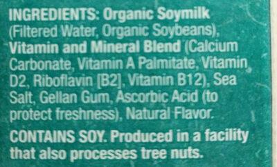 Unsweetened Organic Soymilk - Ingredients