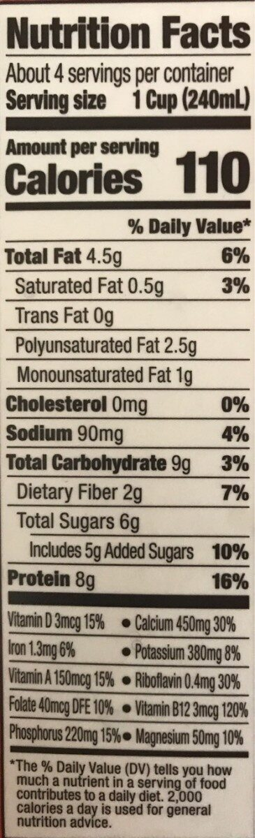 Original soy - Nutrition facts