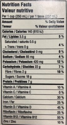Chocolate Fortified soy beverage - Valori nutrizionali - en