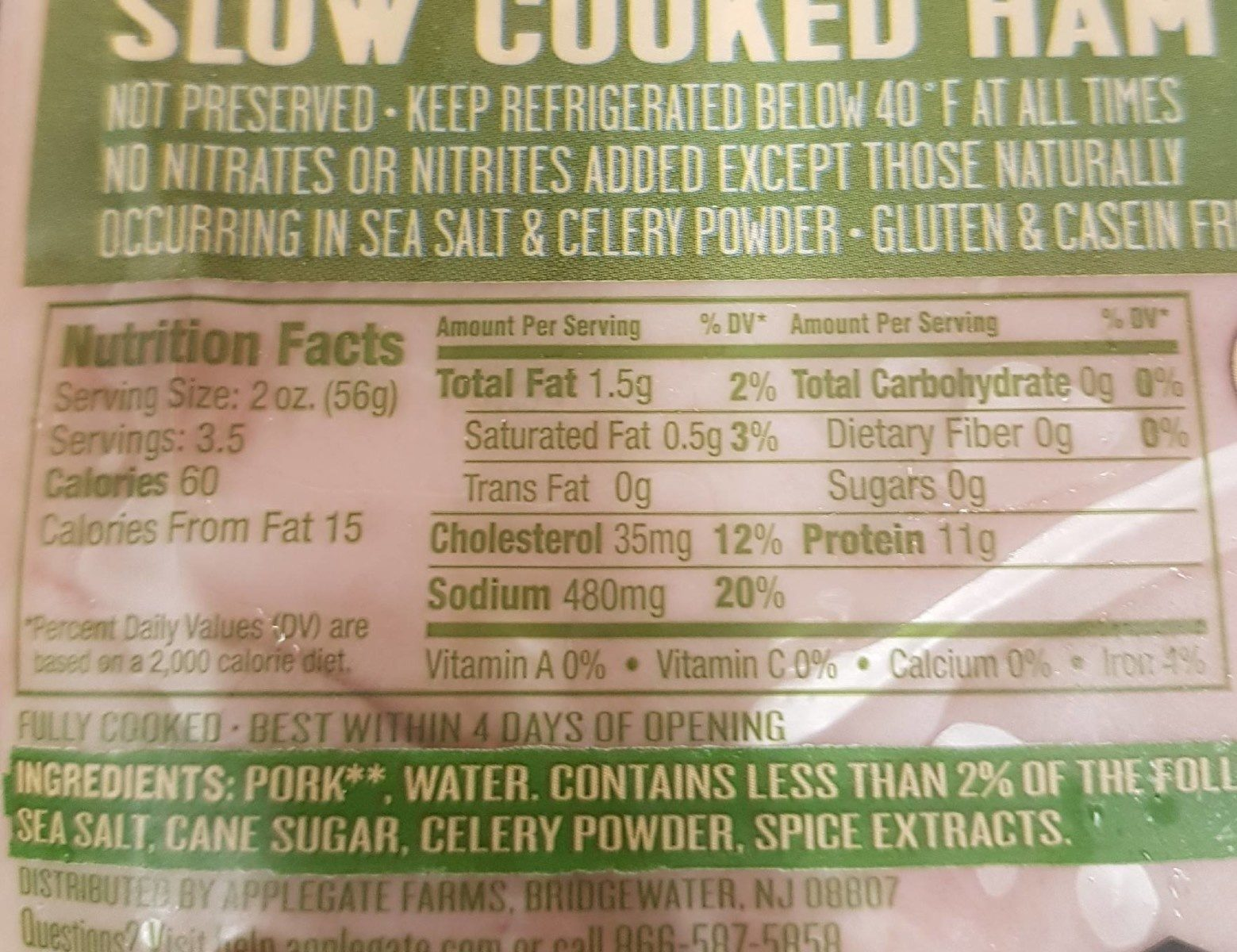 Applegate Naturals Ham Slow Cooked Uncured - Nutrition facts