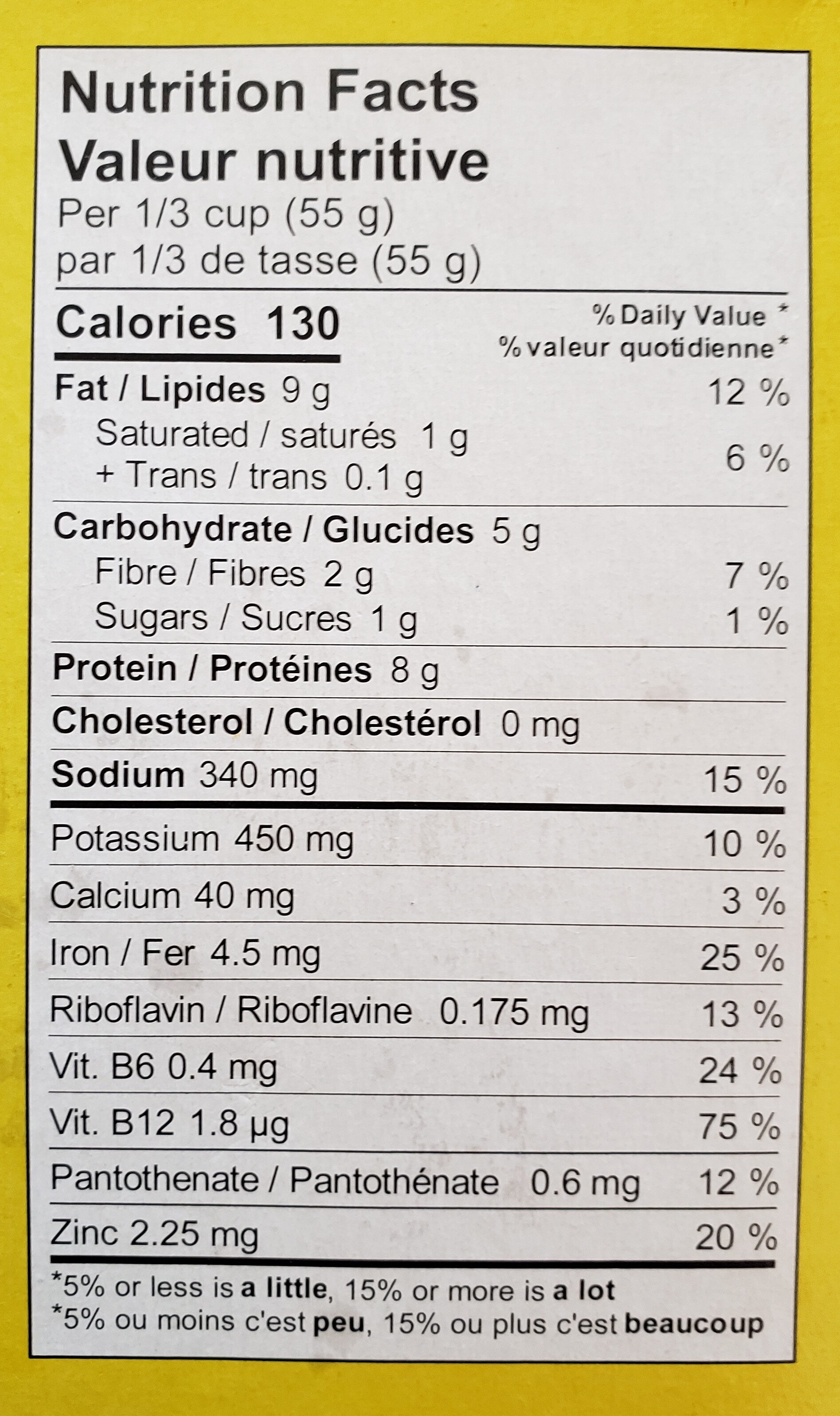 Plant-Based mince chorizo style - Nutrition facts