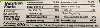 Plant based original sausage italian - Nutrition facts