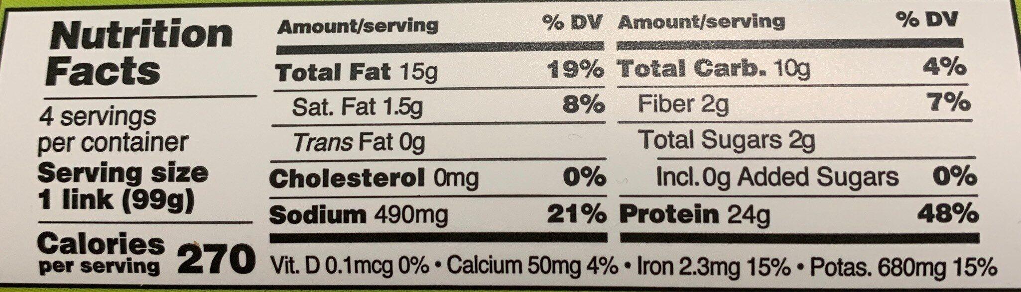 Italian original sausage - Nutrition facts - en