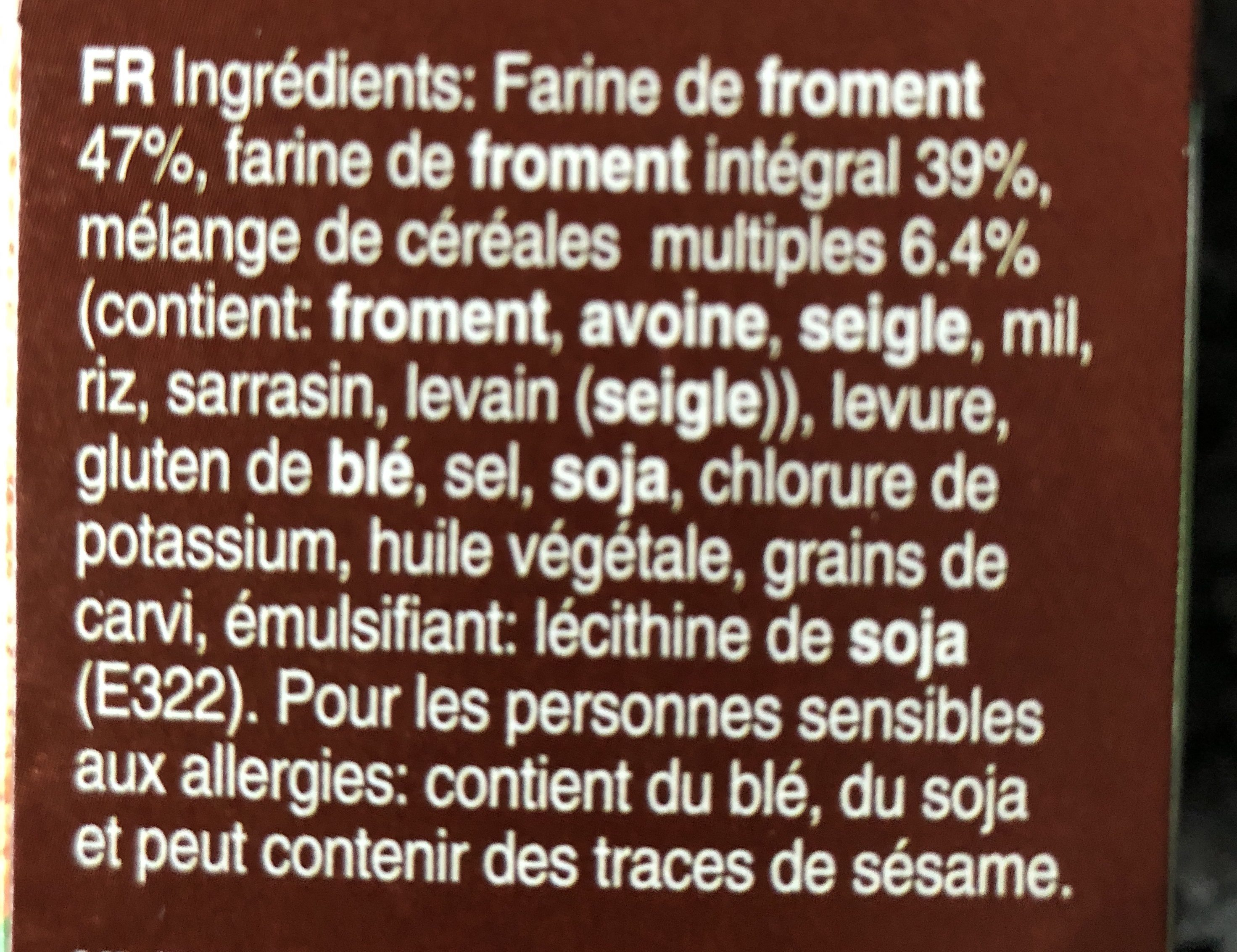 Melba Toast Multigrain- 200 G - Ingrédients - fr