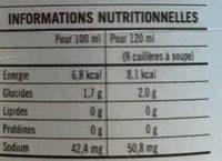 Gelée d'Aloe Vera - Nutrition facts