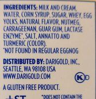 lactose free egg nog - Ingredients - en