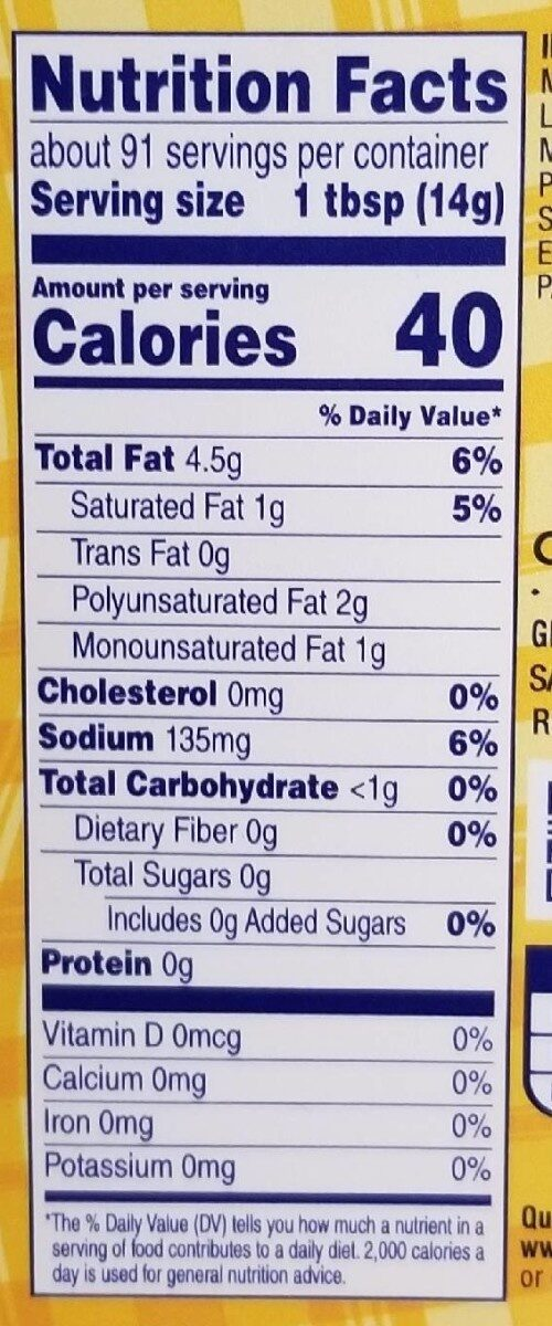 Vegetable oil spread - Informations nutritionnelles - en