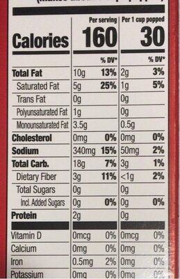 Movie theater butter microwave popcorn - Nutrition facts - en