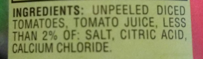 HUNTS Fire Roasted Diced Tomatoes - Ingredients - en