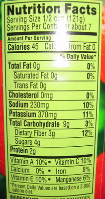 Crushed tomatoes - Nutrition facts