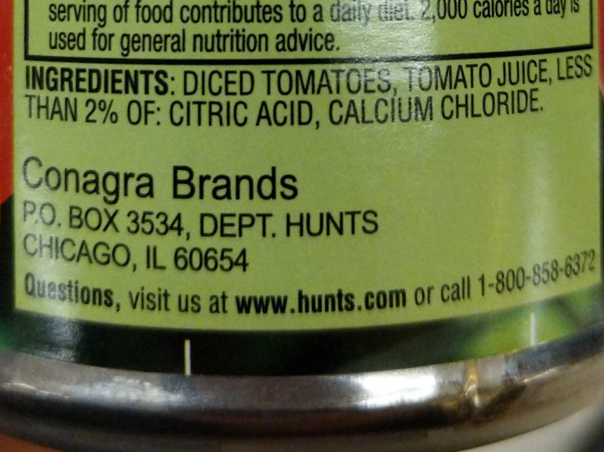Hunt's Diced Tomatoes No Salt Added, 14.5 oz, 14.5 OZ - Ingredients - en