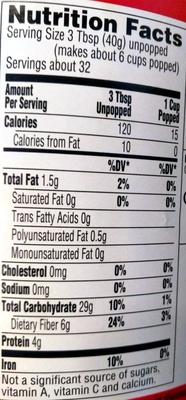 Original Gourmet Popping Corn - Informations nutritionnelles