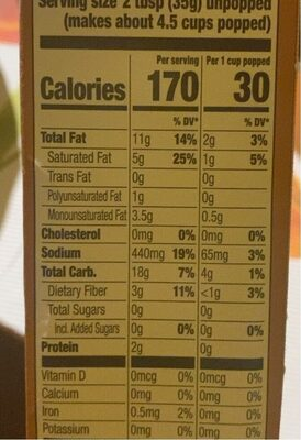 Naturals simply salted popcorn - Nutrition facts - en